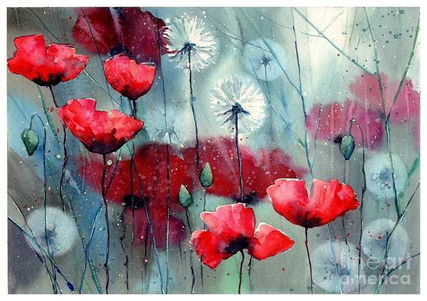 Daffodils Wall Art - Painting - In The Night Garden - Rising Poppies by Suzann's Art