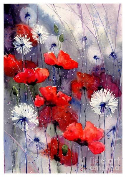 Florida Beach Painting - In The Night Garden - Sleeping Poppies by Suzann Sines