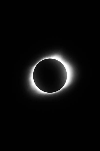 Photograph - In The Path Of Totality - Total Solar Eclipse 8.21.2017 - Black And White by Gregory Ballos