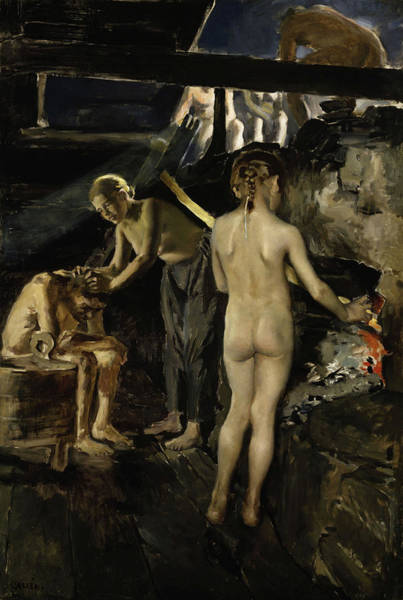 Sauna Wall Art - Painting - In The Sauna, 1889 by Akseli Gallen-Kallela