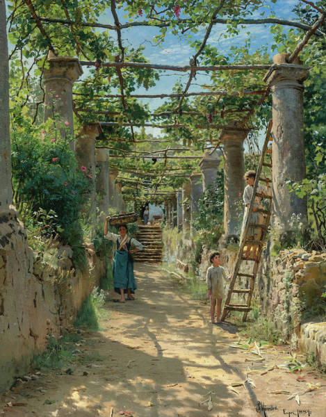 Wall Art - Painting - In The Shadow Of An Italian Pergola, 1884 by Peder Mork Monsted