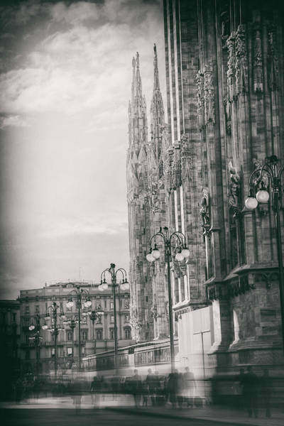 Duomo Photograph - In The Shadow Of Milan Duomo Black And White  by Carol Japp