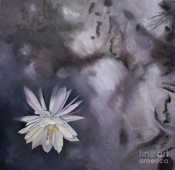 Painting - In The Shadows-night Blooming Cereus by Anne Cameron Cutri