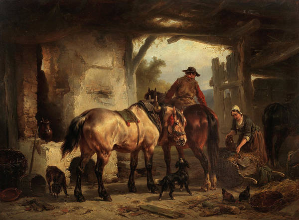 The Horseshoe Wall Art - Painting - In The Stables by Wouter Verschuur