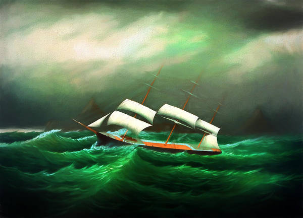 Digital Art - In The Storm At Sea by Carlos Diaz