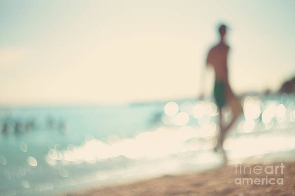Young Man Wall Art - Photograph - In The Summer Vacation.silhouette Of A by Katerina Planina