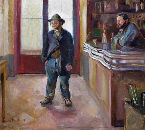 Wall Art - Painting - In The Tavern, 1890 by Edvard Munch