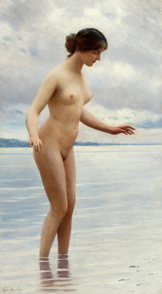 Tits Painting - In The Water by Eugen von Blaas