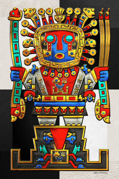 Digital Art - Incan Gods - The Great Creator Viracocha On Black And White by Serge Averbukh