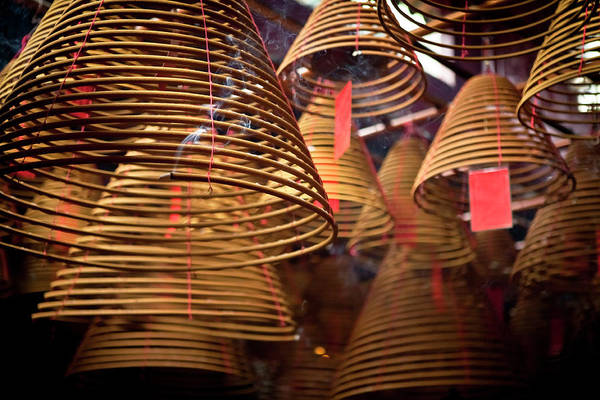 Hanging Photograph - Incense Coils Hanging In A Central Hong by Ed Norton