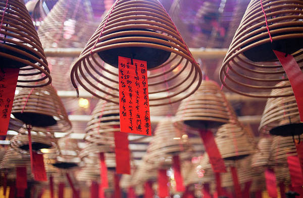 Hanging Photograph - Incense Coils Hanging In Man Mo Temple by Tony Burns