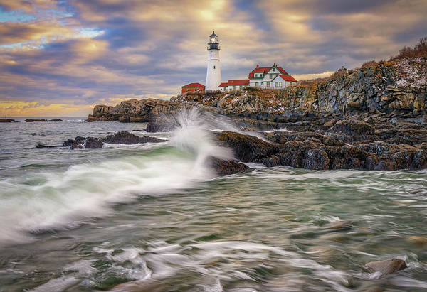 Photograph - Incoming Tide At Portland Head Light by Kristen Wilkinson