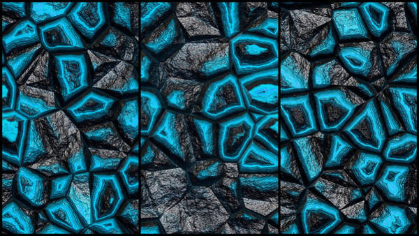 Digital Art - Incredible Blue Stone Wall Triptych by Don Northup