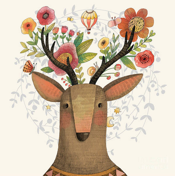 Wall Art - Digital Art - Incredible Deer With Awesome Flowers by Smilewithjul
