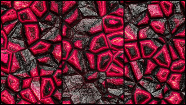 Digital Art - Incredible Red Stone Wall Triptych by Don Northup