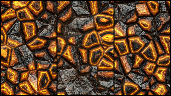 Digital Art - Incredible Stone Wall Triptych by Don Northup