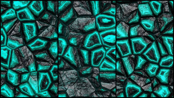 Digital Art - Incredible Turquoise Stone Wall Triptych by Don Northup