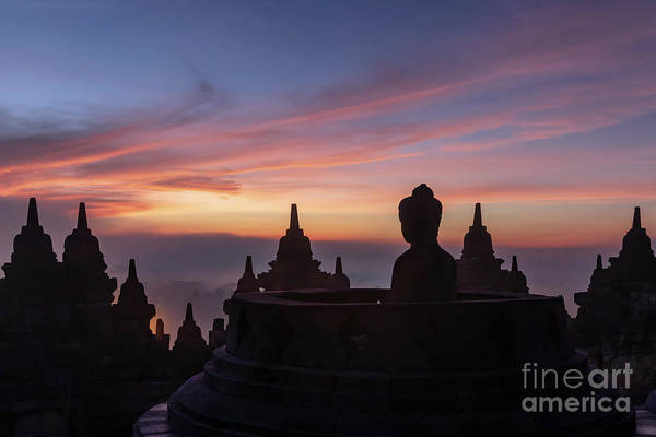 Wall Art - Photograph - Buddha At Sunrise, Borobudur Temple Complex, Borobudur, Yogyakarta, Java, Indonesia by Kim Petersen
