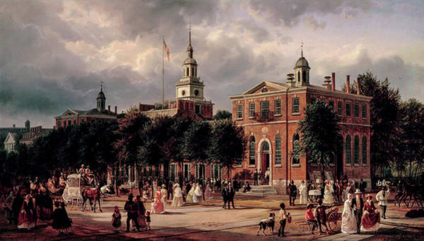 Wall Art - Painting - Independence Hall In Philadelphia, 1863 by Ferdinand Richardt