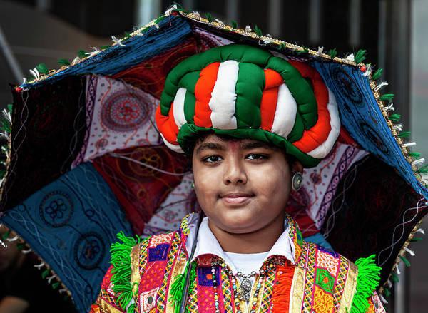 Photograph - India Day Nyc 8_18_2019 Boy In Punjab Attire by Robert Ullmann