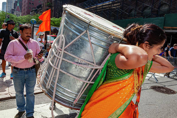 Photograph - India Day Nyc 8_18_2019 Female Drummer Carrying Drum by Robert Ullmann