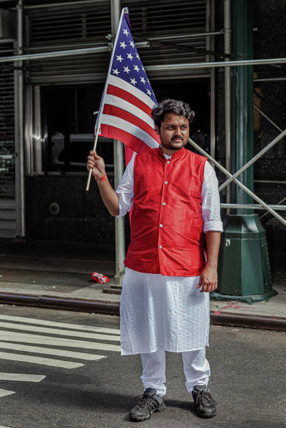 Photograph - India Day Nyc 8_18_2019 Man With American Flag by Robert Ullmann