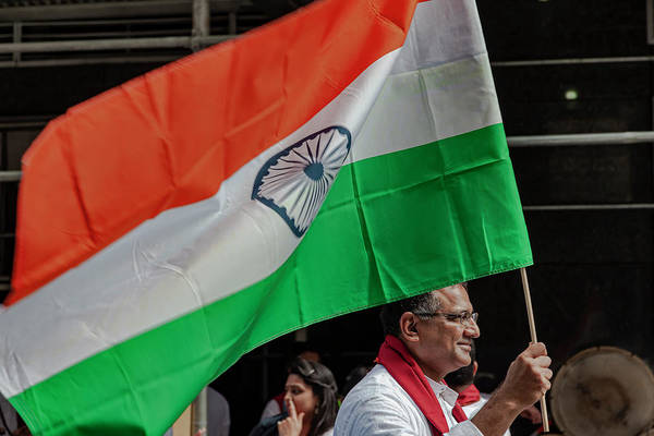 Photograph - India Day Nyc 8_18_2019 Man With Indian Flag by Robert Ullmann
