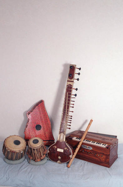 Sitar Photograph - India, Indian Musical Instruments by Education Images/uig