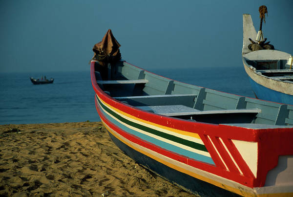 Kerala Photograph - India, Kerala, Pozhikkara Beach, Boats by Macduff Everton