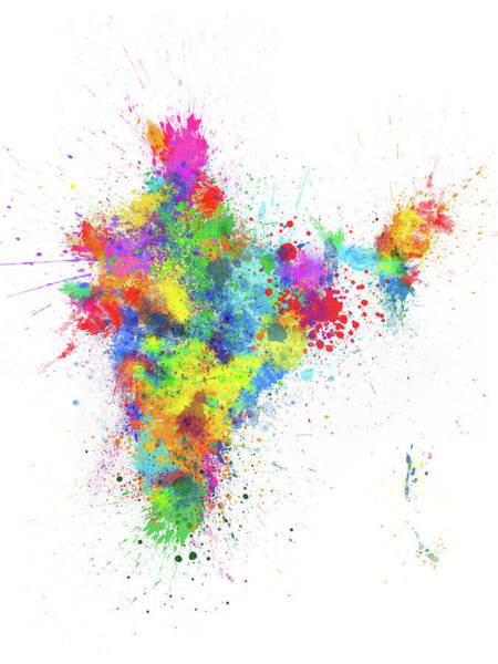 Wall Art - Digital Art - India Paint Splashes Map by Michael Tompsett