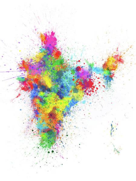 Digital Art - India Paint Splashes Map by Michael Tompsett