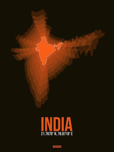 Wall Art - Digital Art - India Radiant Map 1 by Naxart Studio