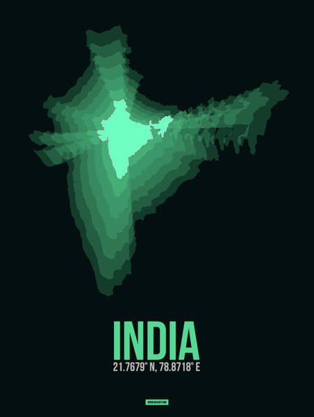 Wall Art - Digital Art - India Radiant Map 3 by Naxart Studio