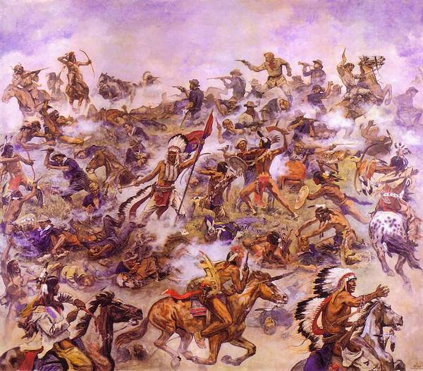 Wall Art - Painting - Indian Attack At The Little Big Horn by Elk Eber