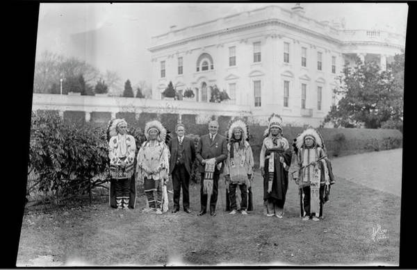 Wall Art - Photograph - Indian Chiefs With President Harding by Fred Schutz Collection