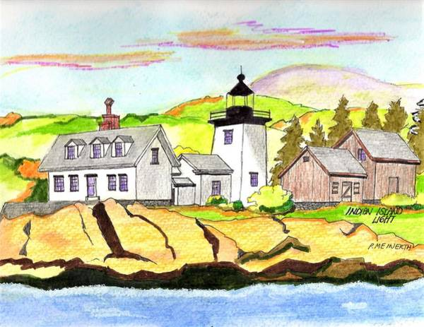 Wall Art - Drawing - Indian Island Light by Paul Meinerth