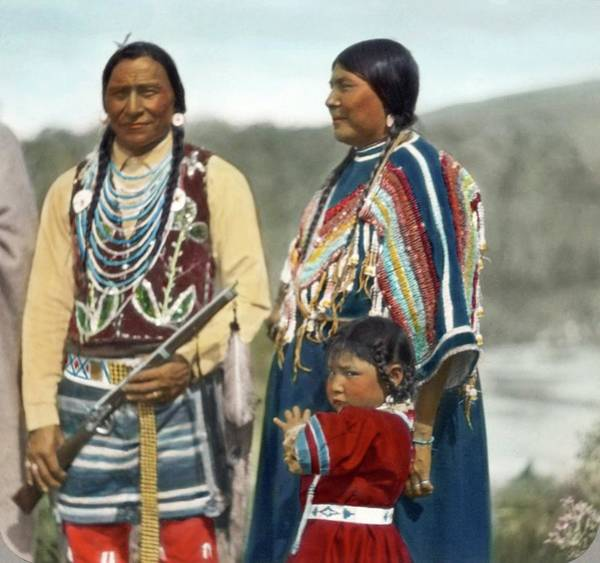 Painting - Indian Man, Woman, And Young Child In Ceremonial Dress By Walter Mcclintock by Walter McClintock