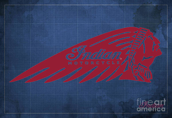 Wall Art - Digital Art - Indian Motorcycle Old Vintage Logo Blue Background by Drawspots Illustrations