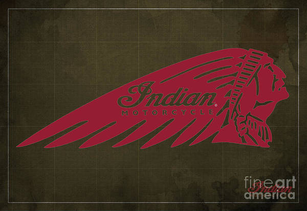 Wall Art - Digital Art - Indian Motorcycle Old Vintage Logo Brown Background by Drawspots Illustrations