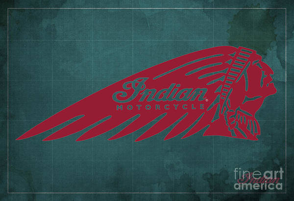 Wall Art - Digital Art - Indian Motorcycle Old Vintage Logo Green Background by Drawspots Illustrations