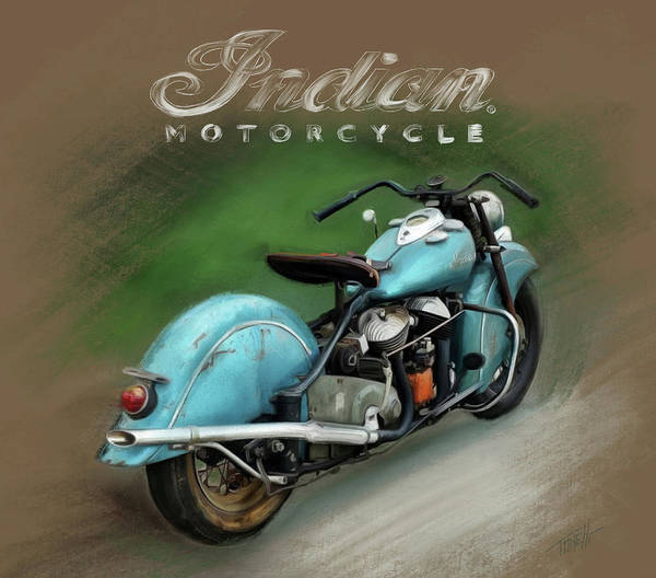 Wall Art - Mixed Media - Indian Motorcycle Vintage  by Mark Tonelli