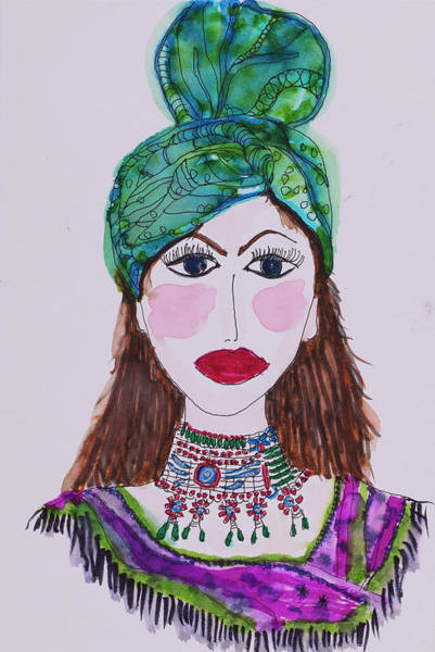 Wall Art - Painting - Indian Princess by Linda Spitsen