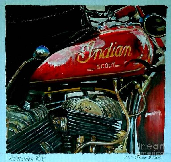 Wall Art - Painting - Indian Scout by Richard John Holden RA