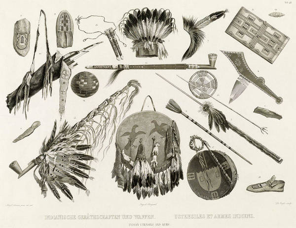 Wall Art - Painting - Indian Utensils And Arms by Karl Bodmer