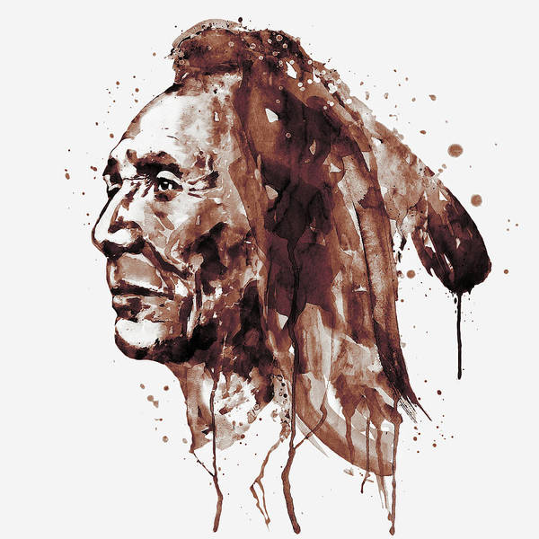 Sepia Painting - Indian Warrior Sepia Tones by Marian Voicu