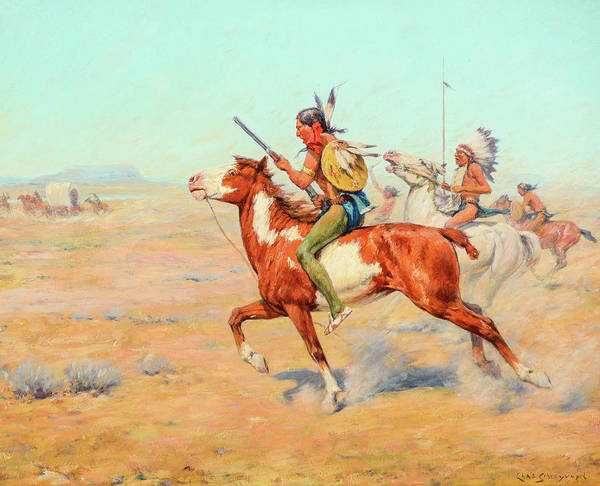 Wall Art - Painting - Indian Warriors by Charles Schreyvogel