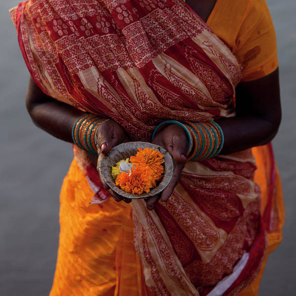 Indian Culture Photograph - Indian Woman  Offering Puja  For The by Selimaksan