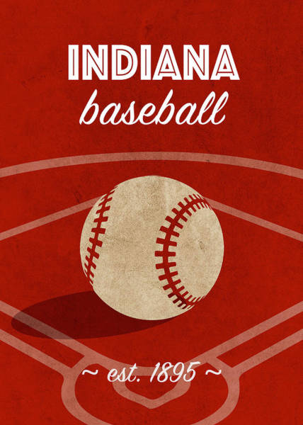 Wall Art - Mixed Media - Indiana Baseball College Sports Team Retro Vintage Poster Series by Design Turnpike