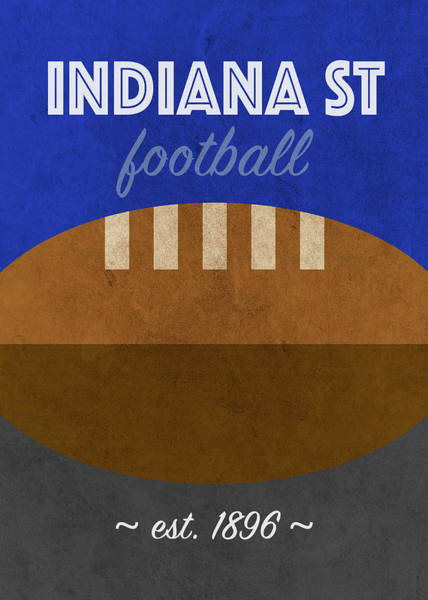 Wall Art - Mixed Media - Indiana State College Football Team Vintage Retro Poster by Design Turnpike