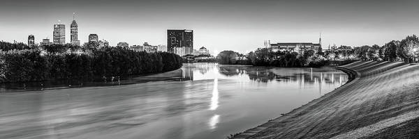 Photograph - Indianapolis Black And White Skyline Panorama Over The White River by Gregory Ballos